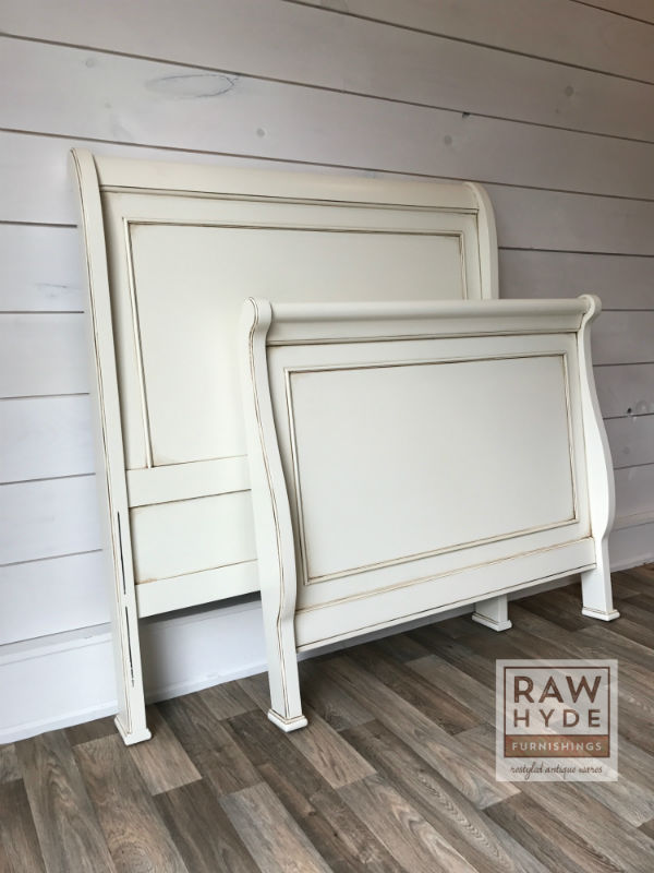 This twin sleigh bed had a cherry finish that I transformed per the  client's request using General Finishes Milk Paint in Antique White. - Painting Furniture White 5 Essential Tips - RAWHyde Furnishings