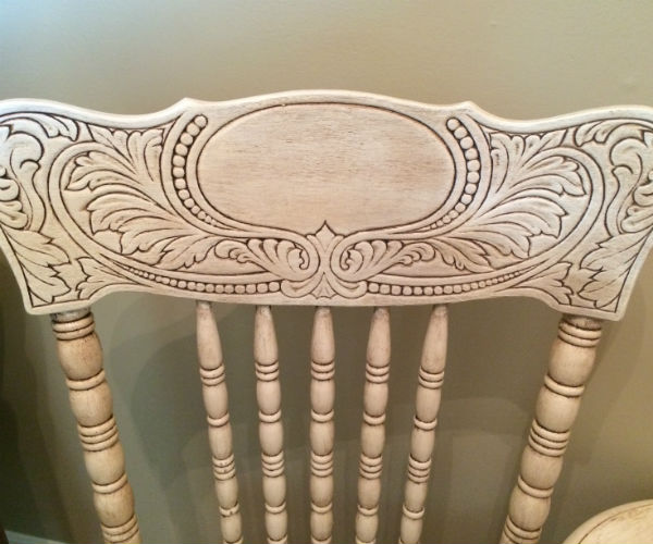 A weathered look on detailed chairs using dark wax.