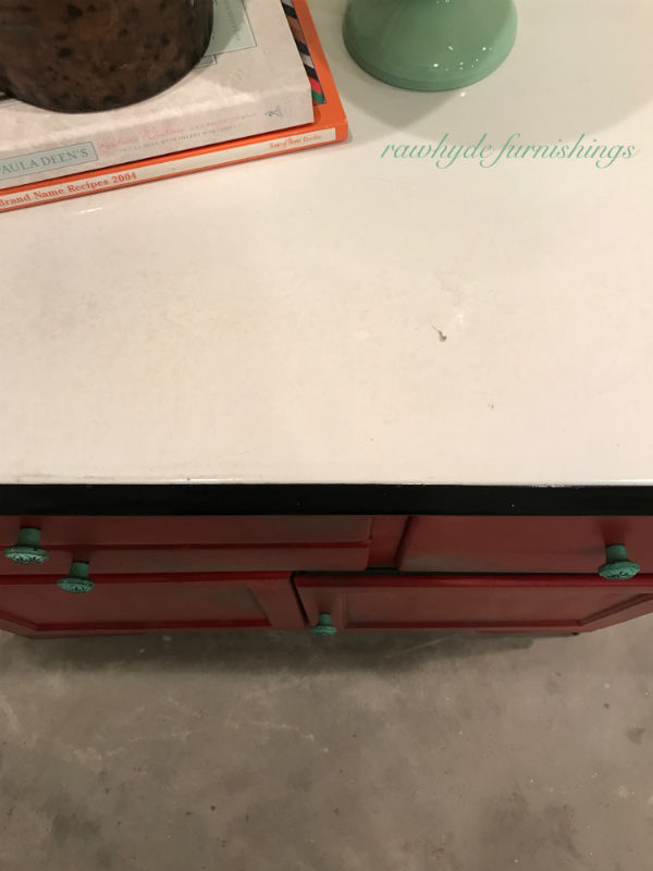 Top view of hoosier cabinet painted furniture makeover.