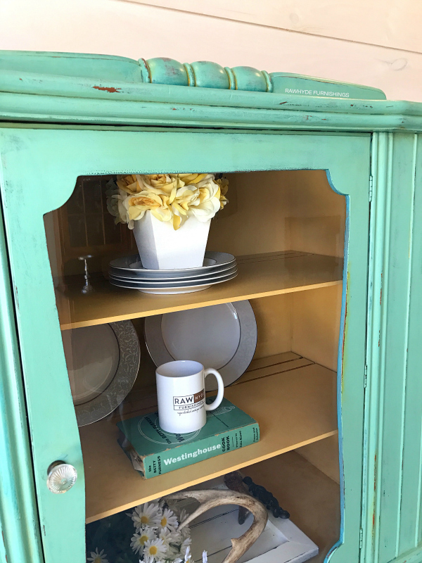 china hutch painted furniture makeover: close-up brittlebrush inside
