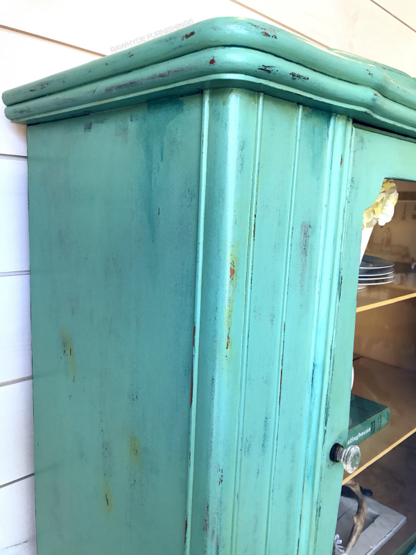 china hutch painted furniture makeover: close-up distressing