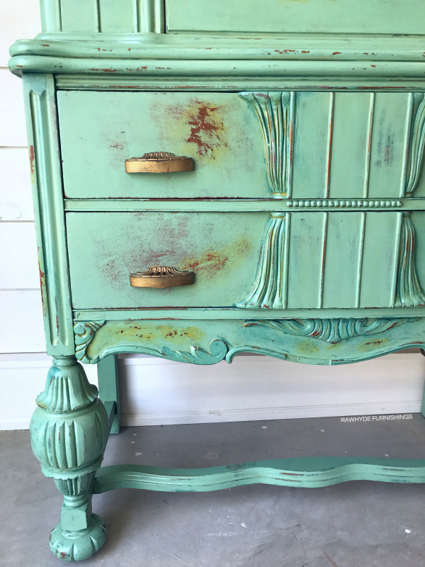 china hutch painted furniture makeover: close-up distressing and brittlebrush detail